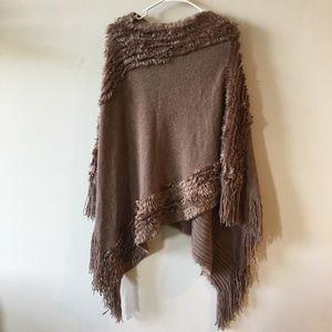 Beige fringe knit poncho one size fits most